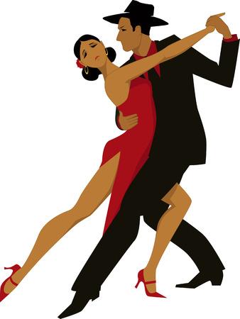 Latijns-Amerikaans paar tango dansen, vector illustratie, geen transparanten