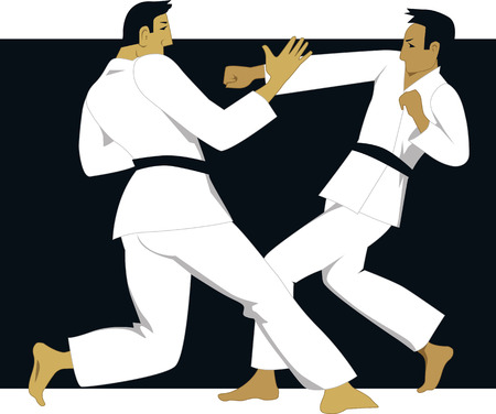 Two men practicing jujutsu or jujitsu in white judogi uniform Illustration