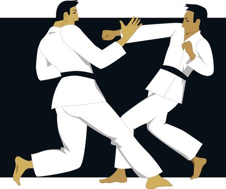 jujitsu: Two men practicing jujutsu or jujitsu in white judogi uniform Illustration