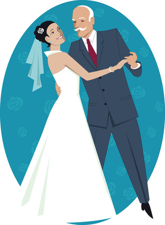 father: Father of the bride waltzing with his daughter Illustration