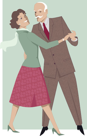 middle age women: Senior couple dancing waltz