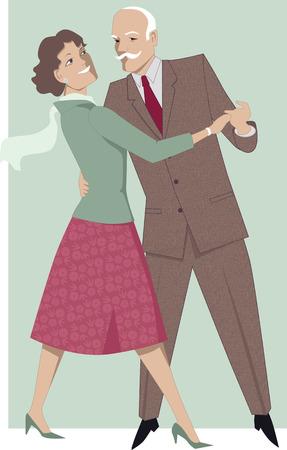 Senior couple dancing waltz Stock Vector - 31540573