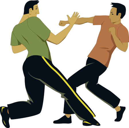Self-defense sparring Illustration
