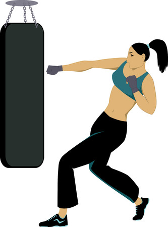 krav maga: Woman working out, striking a punching bag, vector illustration