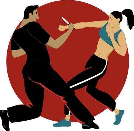 Self-defense for women Vettoriali