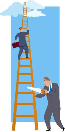 Sabotaje carrera. Un hombre serrar un escalafón bajo su más exitoso compañero de trabajo, ilustración vectorial