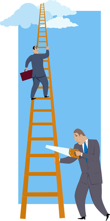 Career sabotage. A man sawing a career ladder under his more successful co-worker, vector illustration