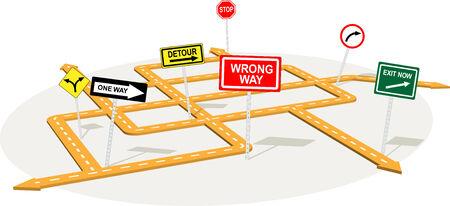 signos de precaucion: Cruce de carreteras en 3D con las se�ales de tr�fico de advertencia