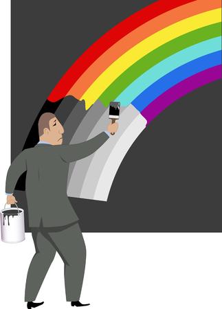 Pessimist. Sad man painting a rainbow into gray scale
