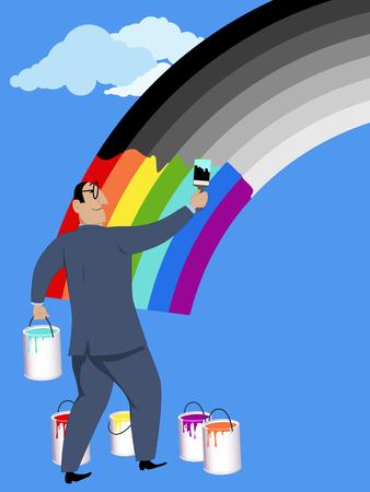 楽観的。明るい色でビジネスマン、絵画のモノクロ虹笑みを浮かべて