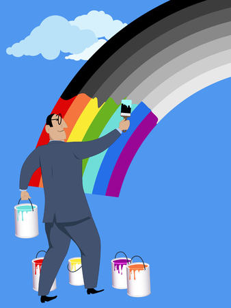 overlook: Optimism. A smiling businessman painting monochrome rainbow in bright colors