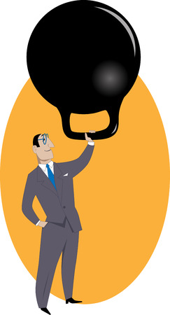 Handling responsibilities. Smiling businessman easily lifting a huge kettle-bell weight over his head, symbolizing responsibilities or workload, vector illustration, no transparencies