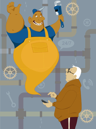 jinn: Middle age man calling plumber on his smart-phone and he appearing in front of him in a form of a cartoon jinn, vector illustration, no transparencies ESP 8