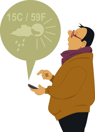 Man checking the weather on his smart-phone 向量圖像