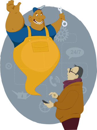Man making a phone call on his smart-phone and a cartoon genie mechanic appearing, vector illustration, no transparencies ESP8