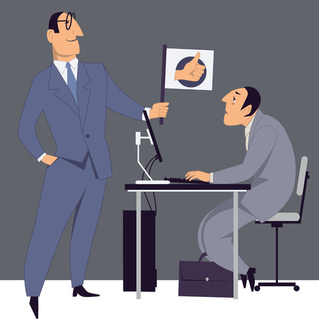 A businessman giving a flag with a thumb up to a tired employee, vector illustration