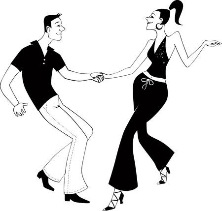 West Coast Swing dansers illustraties