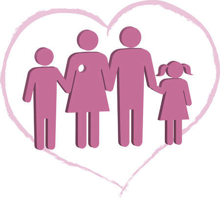 Breast cancer patient family support Illustration