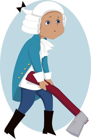 george washington: El niño en George Washington traje celebración de una gran hacha de guerra Vectores