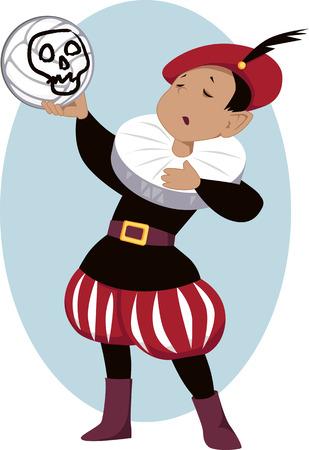 스컬과 함께 배구를 들고 학교 연극에서 햄릿을 재생하는 어린 소년, 그 위에 페인트 스톡 콘텐츠 - 32283896