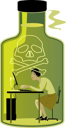 Vrouw in een giftige werkomgeving