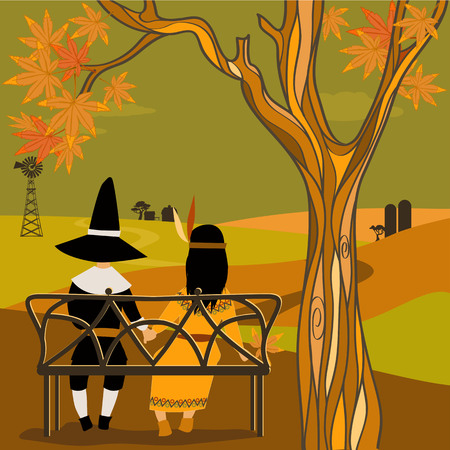 american history: Kids in Thanksgiving costumes sitting under a tree Illustration