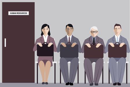 Anciano sentado en una línea a la entrevista con los recursos humanos entre los solicitantes de empleo mucho más jóvenes, ilustración vectorial