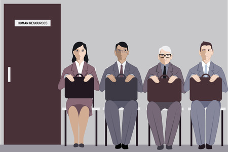 Elderly man sitting in a line to the interview with human resources among much younger job applicants, vector illustration