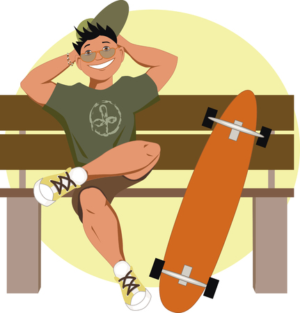 relaxed: Young smiling man with a longboard sitting on a bench, vector cartoon