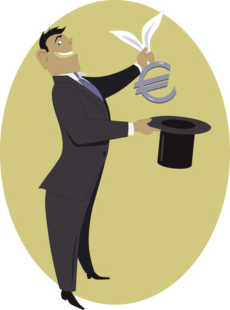 pulling money: Magic Euro. Businessman pulling a Euro sign out of a top hat Illustration