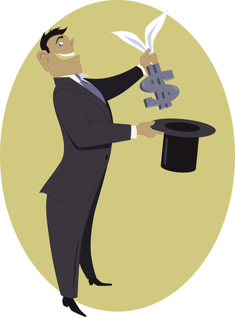 swindle: Man in a business suit pulling a dollar sign with rabbit ears out of a top hat, vector illustration