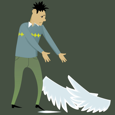 icarus: Lost wings. Young sad cartoon man looking at the wings, lying at his feet, vector illustration Illustration