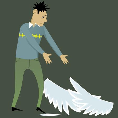 Lost wings. Young sad cartoon man looking at the wings, lying at his feet, vector illustration Illusztráció