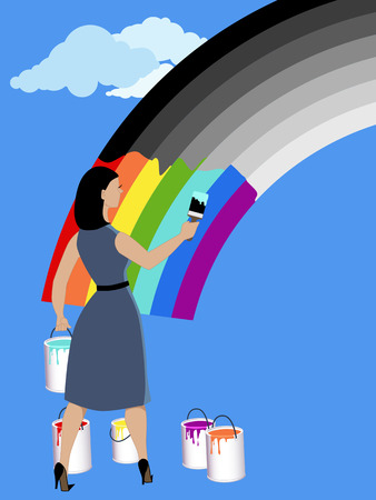 Optimism. Woman painting monochrome rainbow in bright colors, vector illustration