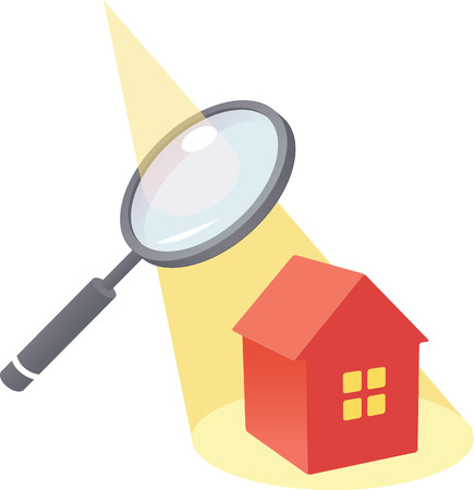 Looking at a house through a magnifying glass Illustration