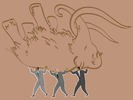 Result of a teamwork. Group of businessman carrying a hunted mammoth, vector illustration