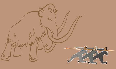 joining forces: Teamwork. Group of businessman armed with one lance attacking a mammoth, vector illustration Illustration