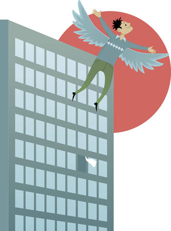 icarus: Freedom. Young man with wings flying up from an open window in an office building, vector illustration Illustration