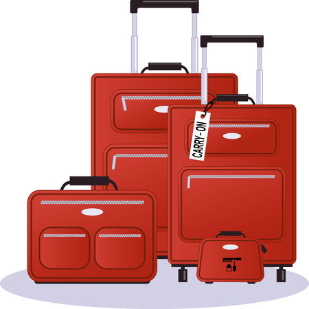 Set of luggage in red, realistic vector illustration