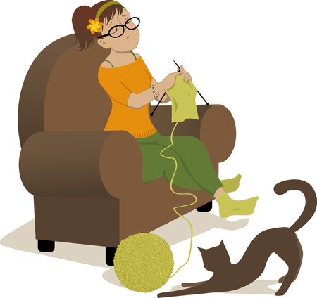 Woman knitting in the chair and cat playing with a ball of yarn Çizim