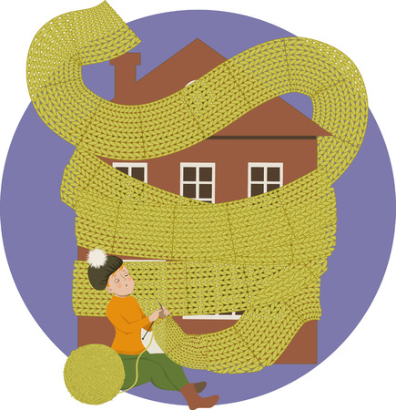 Woman knitting a scarf for a house keeping it warm Illustration