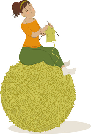 Cute cartoon woman knitting, sitting on a huge ball of yarn