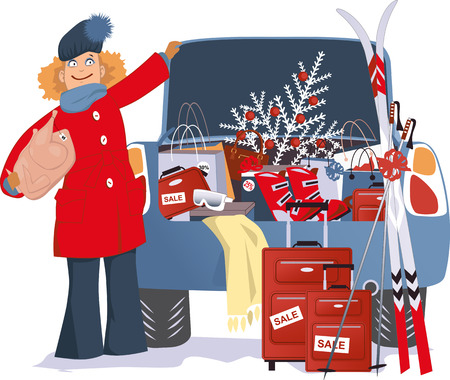 car trunk: Happy woman standing next to a car with a trunk full of purchases with sale tags, sport gear and a Christmas tree Illustration