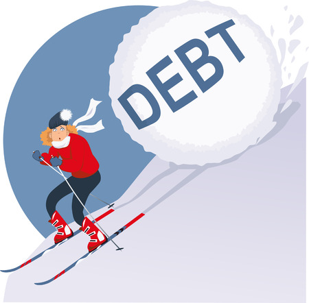christmas debt: Woman running on skis from avalanche of debt