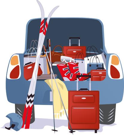 Auto für einen Skiurlaub verpackt Illustration