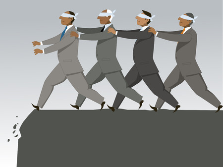 The blind leading the blind. Group of blindfolded businessman follow each other to the cliff