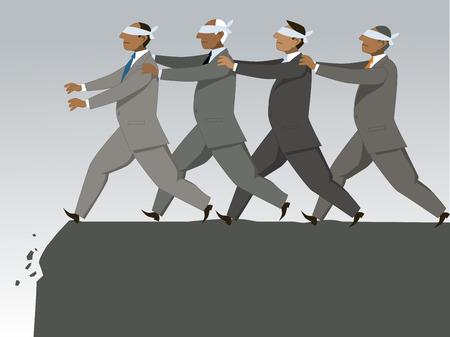 El ciego guiando a otro ciego. Grupo de hombre de negocios con los ojos vendados se suceden al acantilado