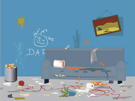 Interior of a living room filled with garbage, mess, paint tracks and signs of children and pets activities