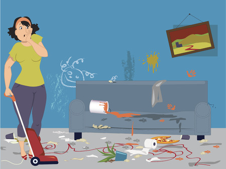 messy: Shocked woman with vacuum cleaner standing in a dirty messy room with signs of pets and children activities, vector illustration