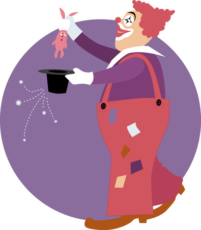magic trick: Clown doing a magic trick